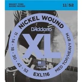 D'Addario EXL116 Nickel Guitar Strings 11-52 Medium Top Heavy Bottom