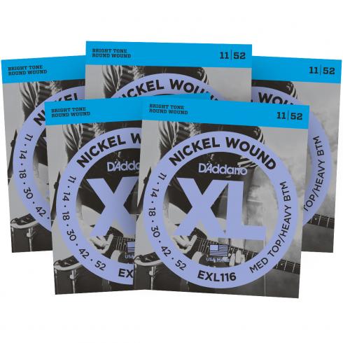 D'Addario EXL116 Nickel Wound Electric 11-52 Guitar Strings 5-Pack