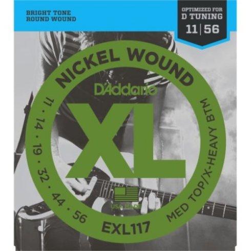 D'Addario EXL117 Nickel Wound 11-56 Drop D Electric Guitar Strings - Heavy Bottom Gauge