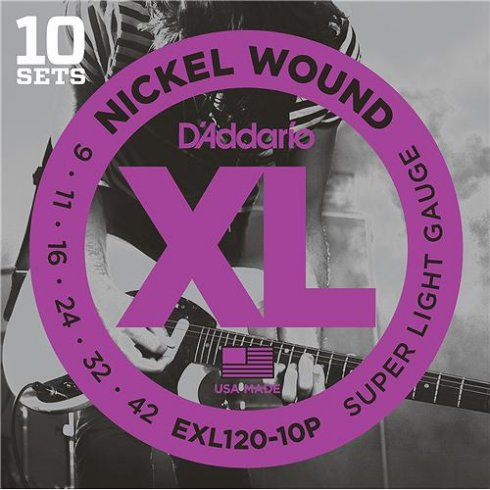 D'Addario EXL120-10P Nickel Guitar Strings 9-42 Super Light, 10-Pack