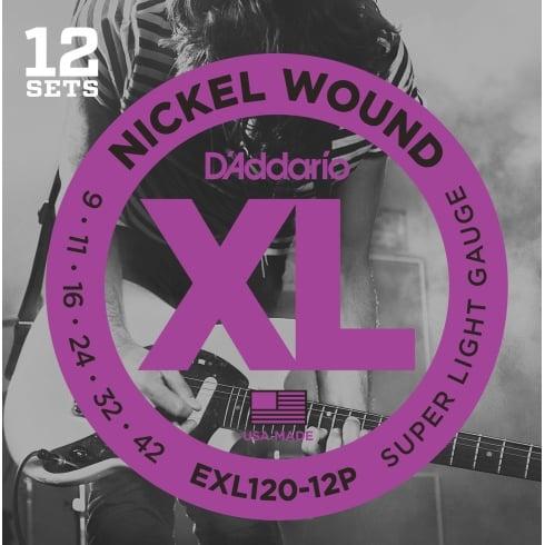D'Addario EXL120-12P Nickel Wound Electric 09-42 12-Pack Guitar Strings (2 FREE Sets)