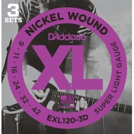 D'Addario EXL120-3D Nickel Guitar Strings 9-42 Super Light, 3-Pack