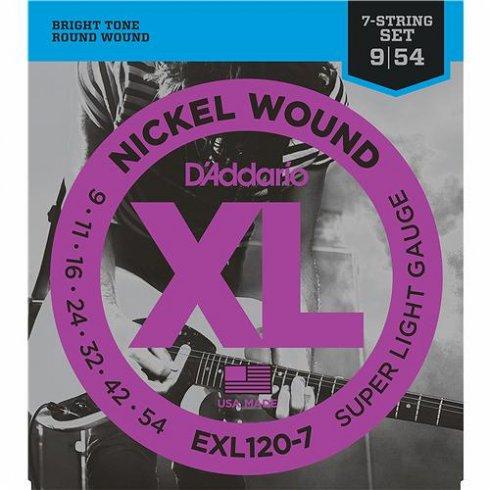 D'Addario EXL120-7 Nickel Wound 09-54 7-String Electric Guitar Strings