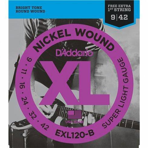 D'Addario EXL120-B25 Nickel Guitar Strings 9-42 Jazz Rock, 25-Pack
