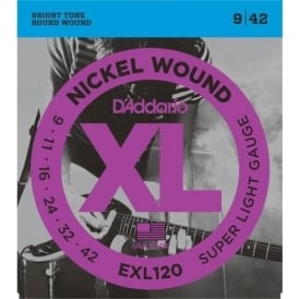 D'Addario EXL120 Nickel Guitar Strings 9-42 Super Light