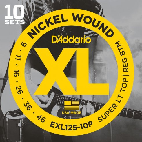 D'Addario EXL125-10P Nickel Wound Electric Guitar Strings 9-46 Custom Light, 10-Pack