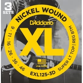 D'Addario EXL125-3D Nickel Guitar Strings 9-46 Custom Light, 3-Pack