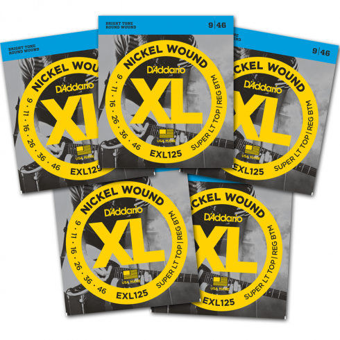 D'Addario EXL125-5PACK Nickel Wound 09-46 Custom Light Electric Guitar Strings 5 SETS