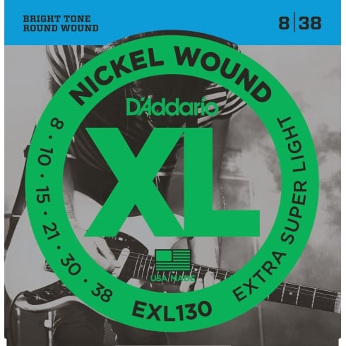 D'Addario EXL130 Nickel Wound 8-38 X-Super Light Electric Guitar Strings