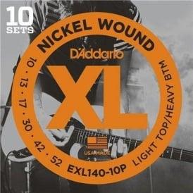 D'Addario EXL140-10P Nickel Guitar Strings 10-52 Light Top Heavy Bottom, 10-Pack