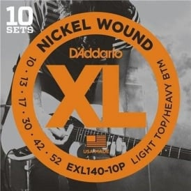 D'Addario EXL140-10P Nickel Wound Electric Guitar Strings 10-52 LTHB, 10-Pack