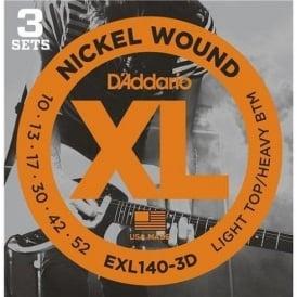 D'Addario EXL140-3D Nickel Guitar Strings 10-52 Light Top Heavy Bottom, 3-Pack