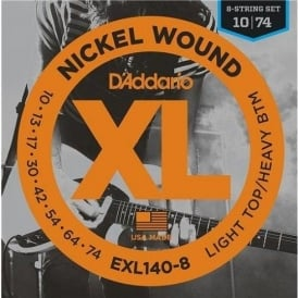 D'Addario EXL140-8 Nickel Wound Electric 10-74 LTHB 8-String Guitar Strings