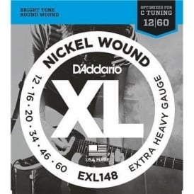 D'Addario EXL148 Nickel Wound Electric Guitar Strings 12-60 for Drop C Tuning