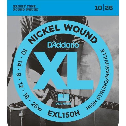 D'Addario EXL150H Nickel Wound Electric Guitar Strings 10-26 Nashville High Strung
