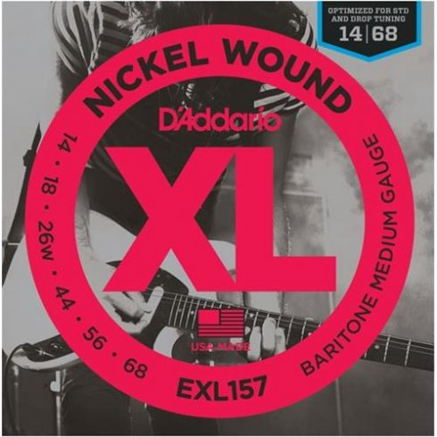 D'Addario EXL157 Nickel Baritone Guitar Strings 14-68 Medium