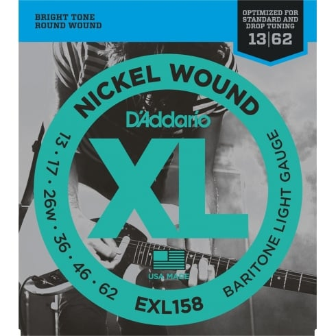 D'Addario EXL158 Nickel Wound Electric 13-62 Gauge for Baritone Guitar