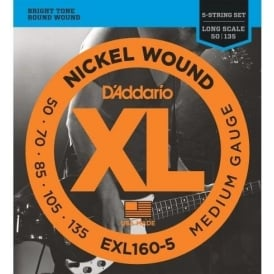 D'Addario EXL160-5 5-String Nickel Wound 50-135 Long Scale Bass Guitar Strings