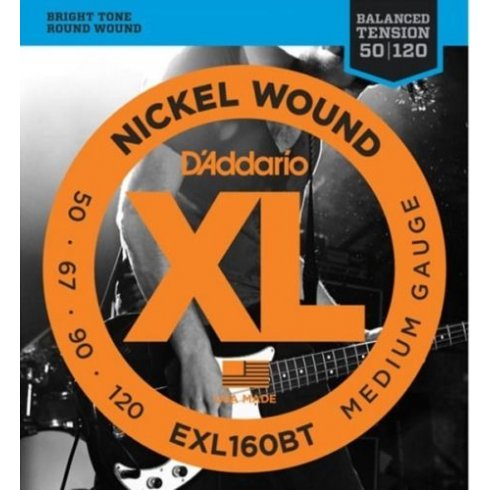 D'Addario EXL160BT Nickel Wound Balanced Tension Bass Guitar Strings 50-120 Medium