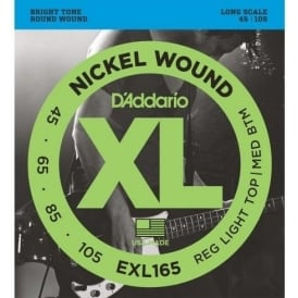 D'Addario EXL165 4-String Nickel Wound Bass 45-105 Long Scale Bass Guitar Strings