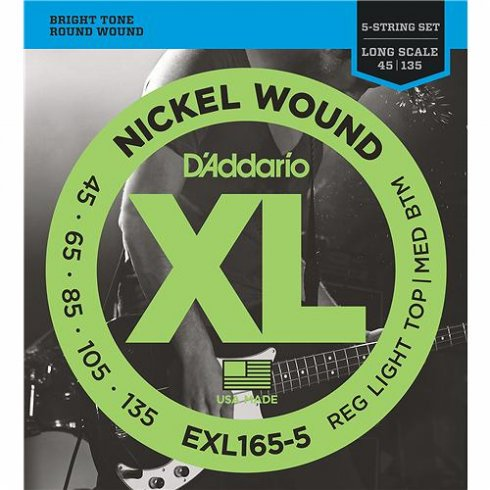 D'Addario EXL165-5 5-String Nickel Wound 45-135 Long Scale Bass Guitar Strings