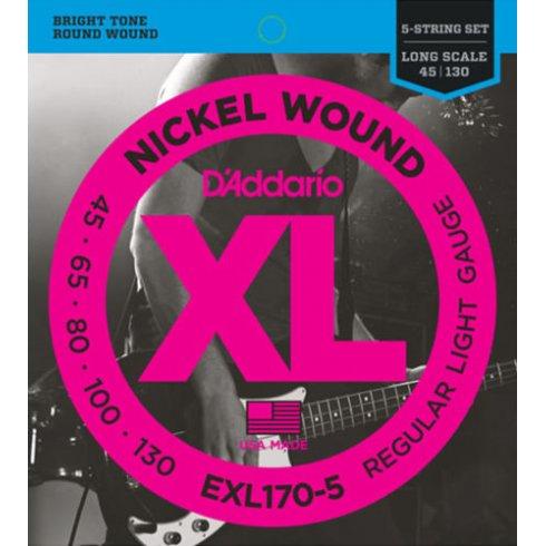 D'Addario EXL170-5 5-String Nickel Wound 45-130 Long Scale Bass Guitar Strings