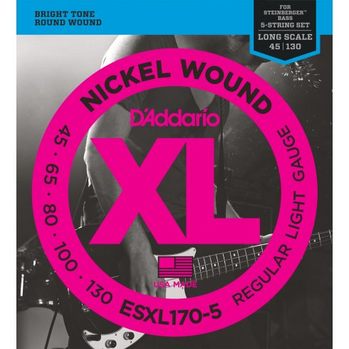 D'Addario EXL170-5 XL Bass Nickel Wound 5-String, Light, 45-130, Double Ball End, Long Scale