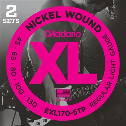 D'Addario EXL170-5TP 5-String Nickel Wound 45-130 Bass Strings, Twin Pack