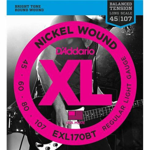 D'Addario EXL170BT Nickel Wound Balanced Tension Bass Guitar Strings 45-107 Regular Light
