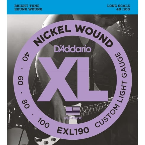 D'Addario EXL190 4-String Nickel Wound 40-100 Long Scale Bass Guitar Strings