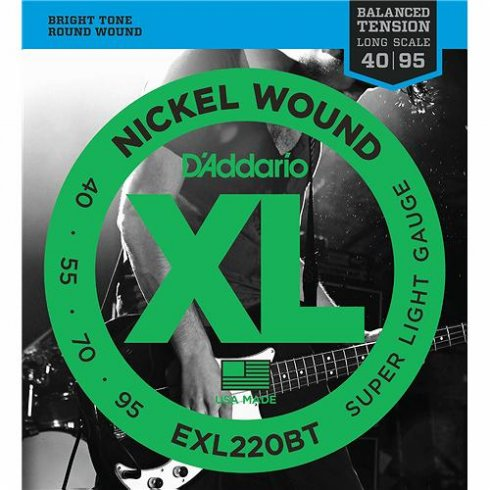 D'Addario EXL220BT Nickel Wound Balanced Tension Bass Guitar Strings 40-95 Super Light