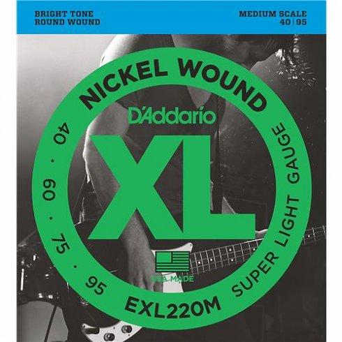 D'Addario EXL220M 4-String Nickel Wound 40-95 Medium Scale Bass Guitar Strings