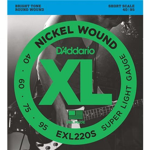 D'Addario EXL220S 4-String Nickel Wound 40-95 Short Scale Bass Guitar Strings