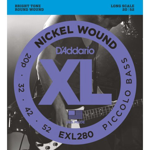 D'Addario EXL280 Nickel Wound Piccolo 20-52 Long Scale Bass Strings