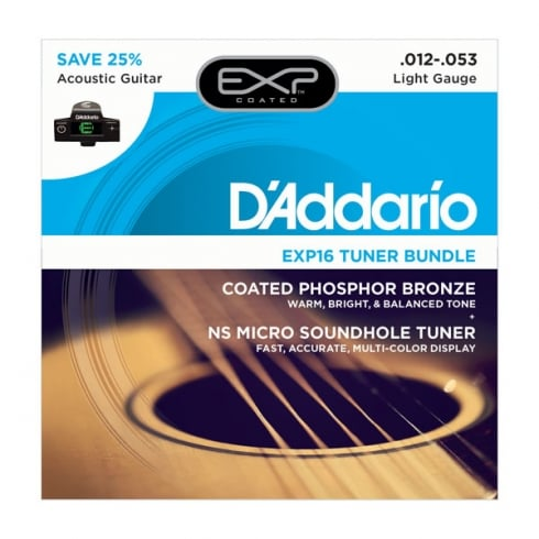 D'Addario EXP16 Acoustic Guitar Strings and NS Micro Tuner Bundle