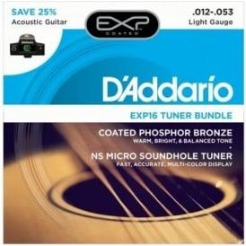 D'Addario EXP16 Acoustic Guitar Strings and NS Micro Tuner Bundle