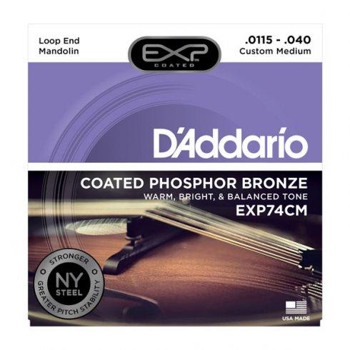 D'Addario EXP74CM Coated Phosphor Bronze Mandolin Strings Custom Medium 11.5-40