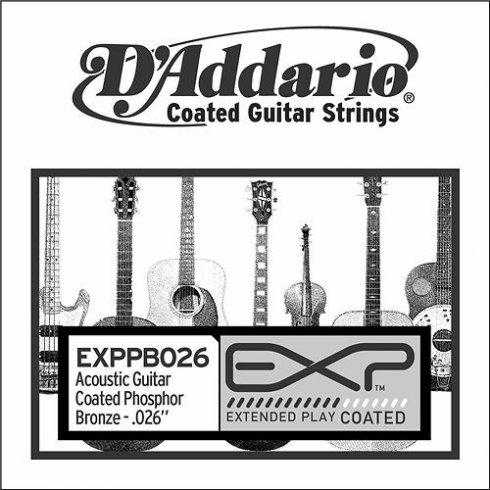 D'Addario EXPPB026 Phosphor Bronze EXP Coated Acoustic Guitar Single String .026
