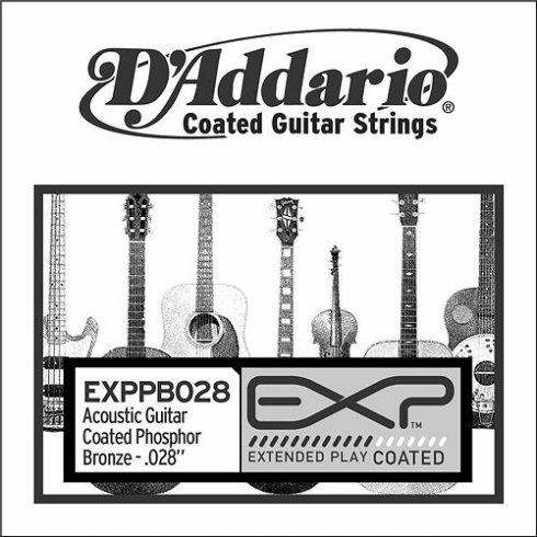 D'Addario EXPPB028 Phosphor Bronze EXP Coated Acoustic Guitar Single String .028