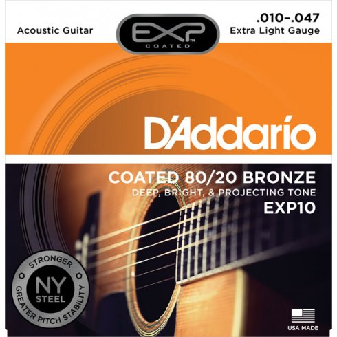 D'Addario Extended Play EXP10 80/20 Bronze Acoustic Guitar Strings 10-47 Extra Light