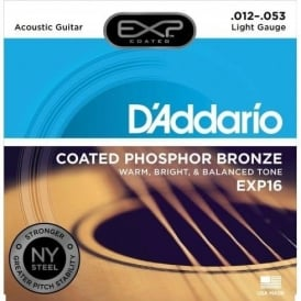 D'Addario Extended Play EXP16 Phosphor Bronze Acoustic Guitar Strings 12-53 Light