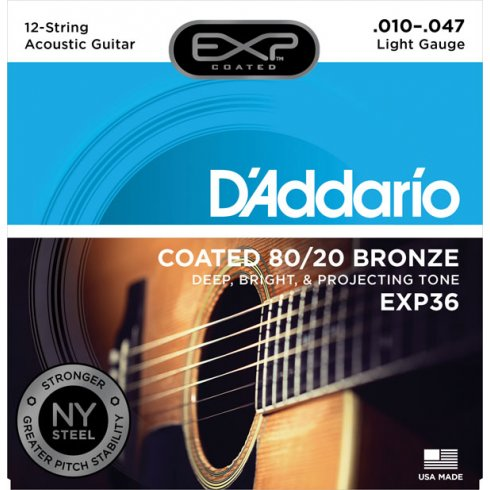 D'Addario Extended Play EXP36 80/20 Bronze Acoustic Strings 10-47 12-String Extra Light