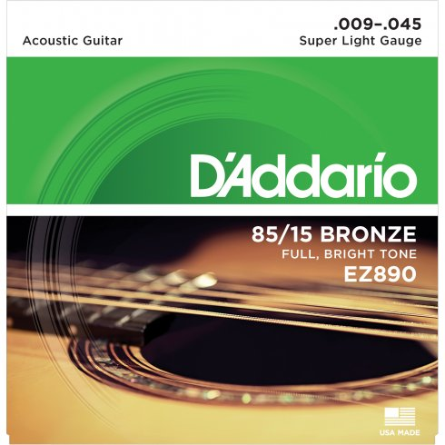 D'Addario EZ890 85/15 Bronze 9-45 Super Light Acoustic Guitar Strings