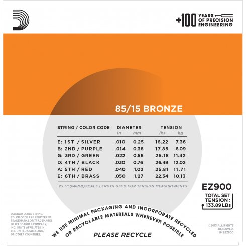 Daddario EZ900 Great American BronzeExtra Light85//15NEU