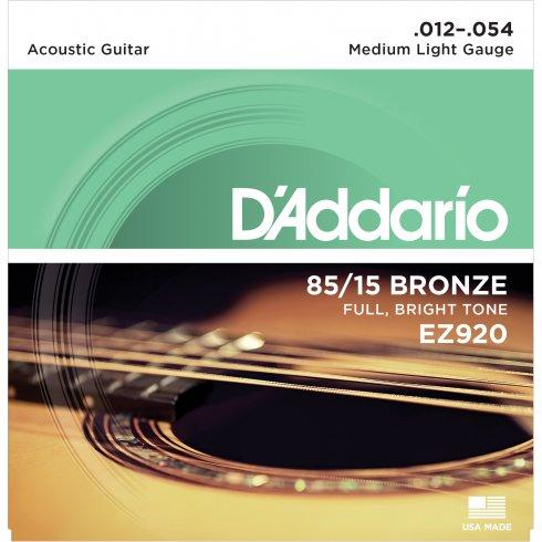 D'Addario EZ920 85/15 Bronze 12-54 Medium Light Acoustic Guitar Strings