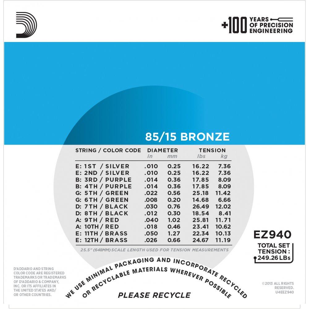 D\'Addario EZ940 85/15 12-string Bronze Acoustic Guitar Strings 10-50