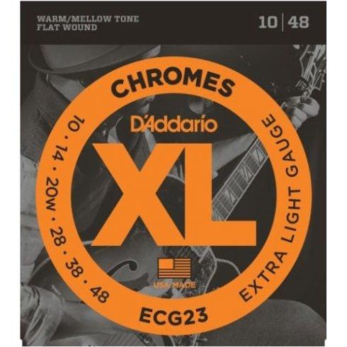 D'Addario Flatwound Chromes ECG23 Steel Guitar Strings 10-48 Extra Light