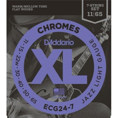 D'Addario Flatwound Chromes ECG24-7 Steel 7-String Guitar Strings 11-65 Jazz Light