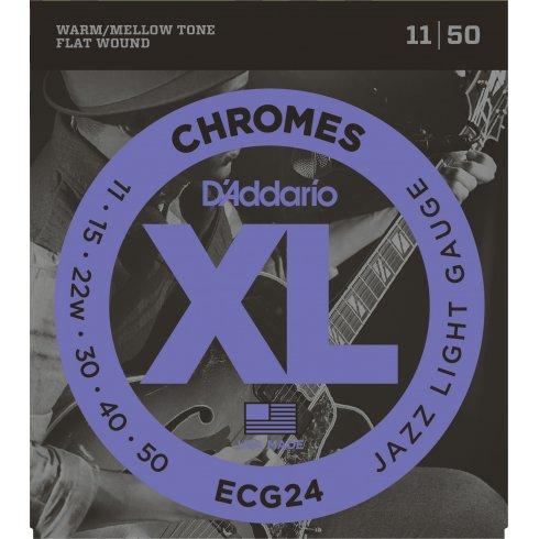 D'Addario Flatwound Chromes ECG24 Steel Guitar Strings 11-50 Jazz Light