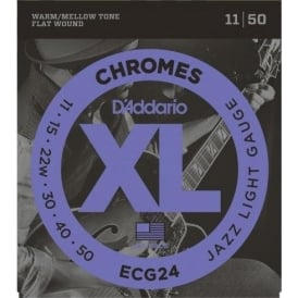 D'Addario Flatwound Chromes ECG24 Steel Guitar Strings 11-50 Jazz Light